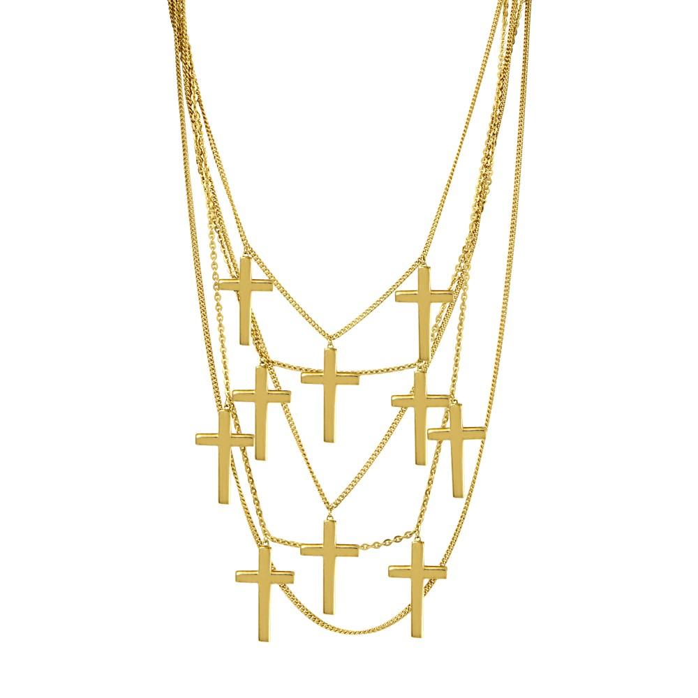 Collar cruces en casacada plata bañada en oro amarillo Aristocrazy
