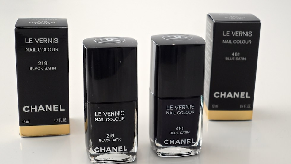 Chanel Nails 461 Blue Satin & 219 Black Satin