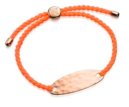 Monica Vinader Bali Friendship Bracelet rose gold orange